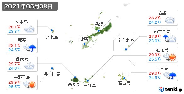 沖縄県(2021年05月08日の天気