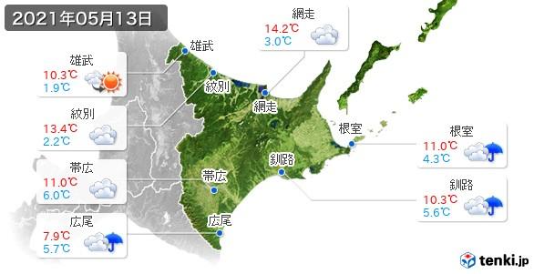 道東(2021年05月13日の天気