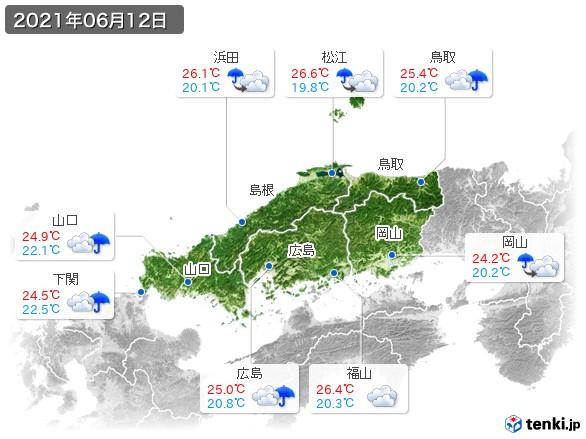 中国地方(2021年06月12日の天気
