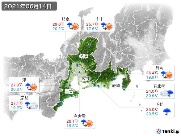 東海地方(2021年06月14日の天気