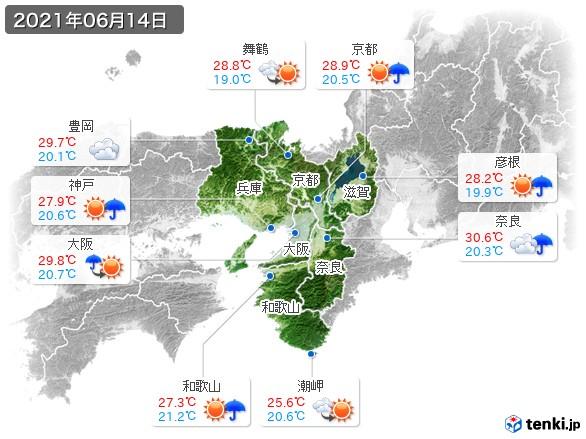近畿地方(2021年06月14日の天気