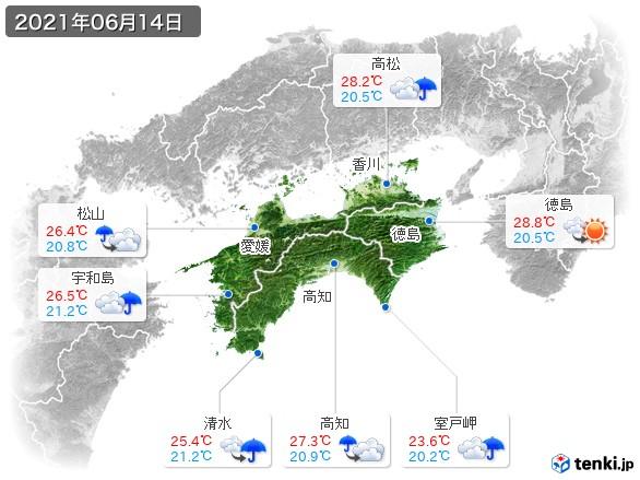 四国地方(2021年06月14日の天気