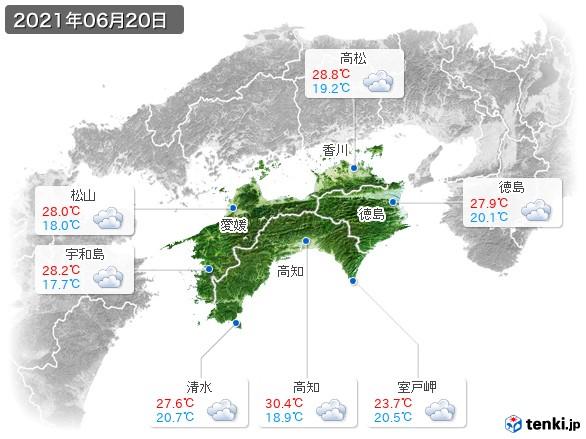 四国地方(2021年06月20日の天気