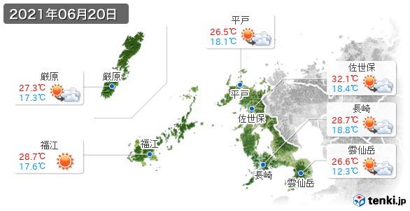 長崎県(2021年06月20日の天気