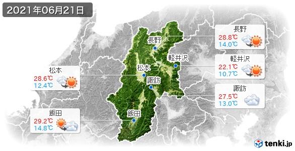 長野県(2021年06月21日の天気