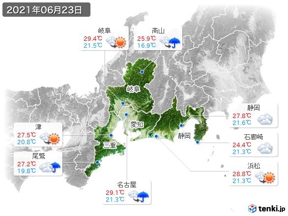 東海地方(2021年06月23日の天気