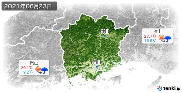 岡山県(2021年06月23日の天気