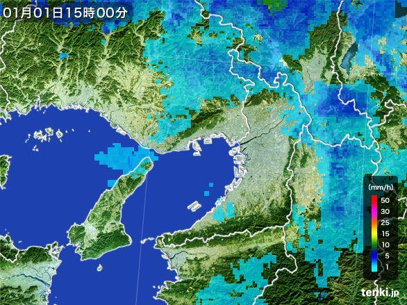 大阪府の雨雲レーダー(2015年01月01日)