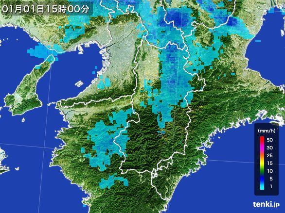 奈良県の雨雲レーダー(2015年01月01日)