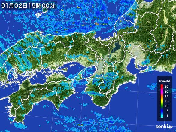 近畿地方の雨雲レーダー(2015年01月02日)