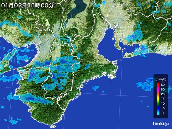 三重県の雨雲レーダー(2015年01月02日)
