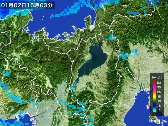 滋賀県の雨雲レーダー(2015年01月02日)