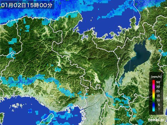 京都府の雨雲レーダー(2015年01月02日)