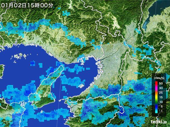 大阪府の雨雲レーダー(2015年01月02日)