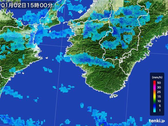 和歌山県の雨雲レーダー(2015年01月02日)
