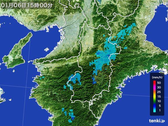 奈良県の雨雲レーダー(2015年01月06日)