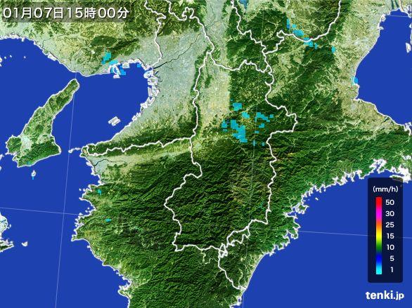 奈良県の雨雲レーダー(2015年01月07日)