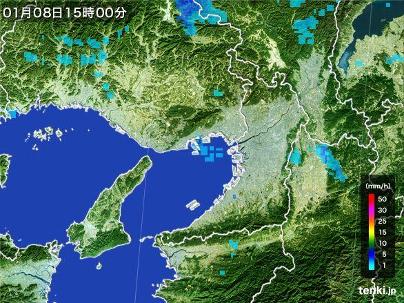 大阪府の雨雲レーダー(2015年01月08日)