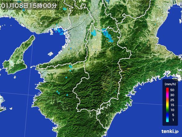 奈良県の雨雲レーダー(2015年01月08日)