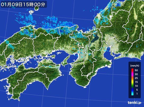 近畿地方の雨雲レーダー(2015年01月09日)