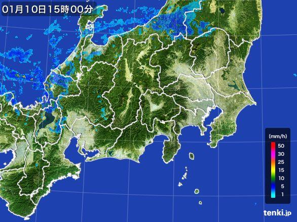 関東・甲信地方の雨雲レーダー(2015年01月10日)