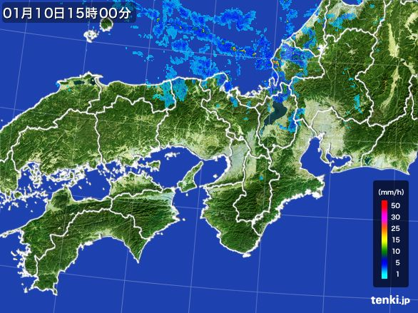 近畿地方の雨雲レーダー(2015年01月10日)