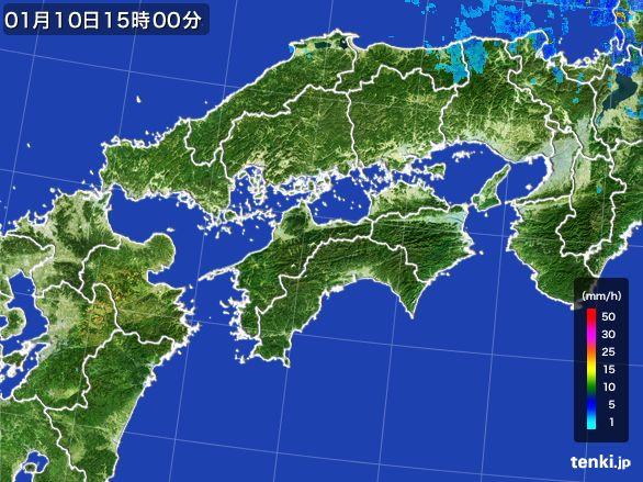 四国地方の雨雲レーダー(2015年01月10日)