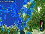2015年01月10日の福井県の雨雲の動き