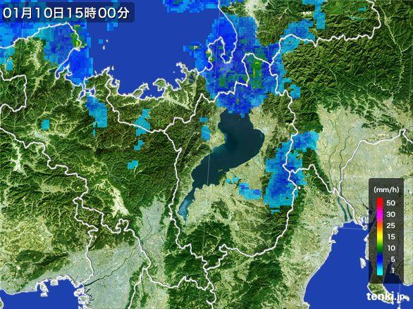 滋賀県の雨雲レーダー(2015年01月10日)