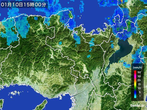 京都府の雨雲レーダー(2015年01月10日)