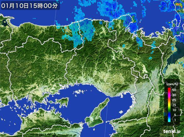 兵庫県の雨雲レーダー(2015年01月10日)