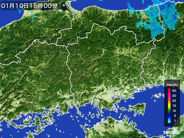 岡山県の雨雲レーダー(2015年01月10日)