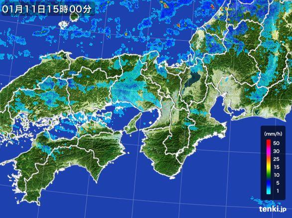 近畿地方の雨雲レーダー(2015年01月11日)
