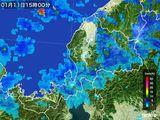 2015年01月11日の福井県の雨雲の動き
