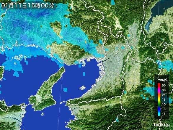 大阪府の雨雲レーダー(2015年01月11日)