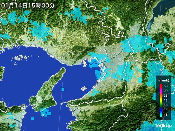 大阪府の雨雲レーダー(2015年01月14日)