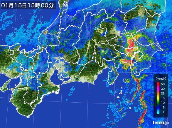 東海地方の雨雲レーダー(2015年01月15日)
