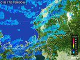 2015年01月17日の福井県の雨雲の動き