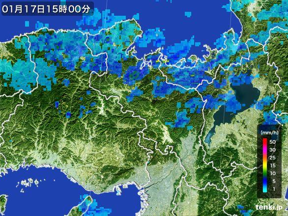 京都府の雨雲レーダー(2015年01月17日)