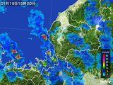 2015年01月19日の福井県の雨雲の動き