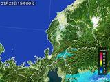 2015年01月21日の福井県の雨雲の動き