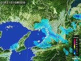 2015年01月21日の大阪府の雨雲レーダー