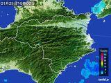 2015年01月21日の徳島県の雨雲の動き