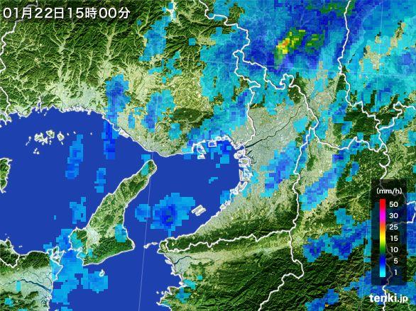 大阪府の雨雲レーダー(2015年01月22日)