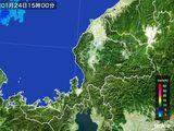 2015年01月24日の福井県の雨雲の動き