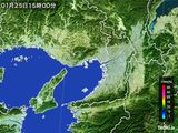 2015年01月25日の大阪府の雨雲レーダー