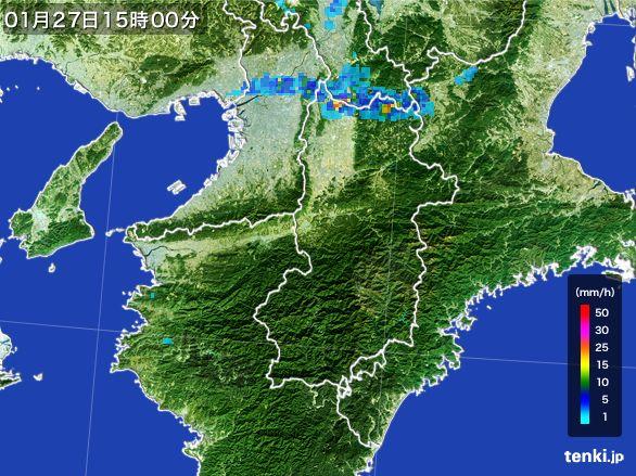 奈良県の雨雲レーダー(2015年01月27日)