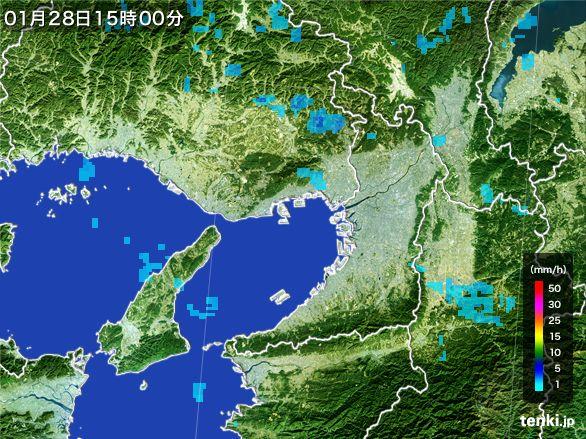 大阪府の雨雲レーダー(2015年01月28日)