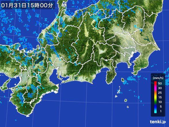 東海地方の雨雲レーダー(2015年01月31日)