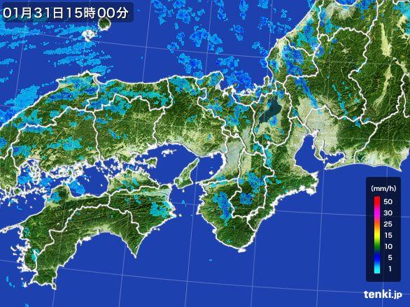近畿地方の雨雲レーダー(2015年01月31日)